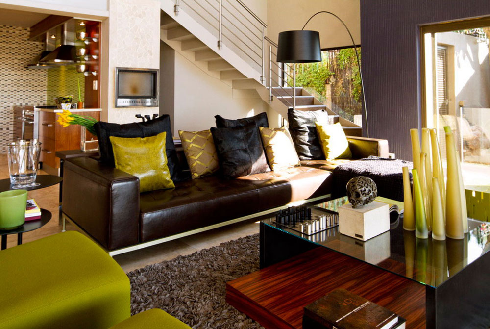 Glass Coffee Table, Brown Leather Sofas, Modern Upgrade in South Africa