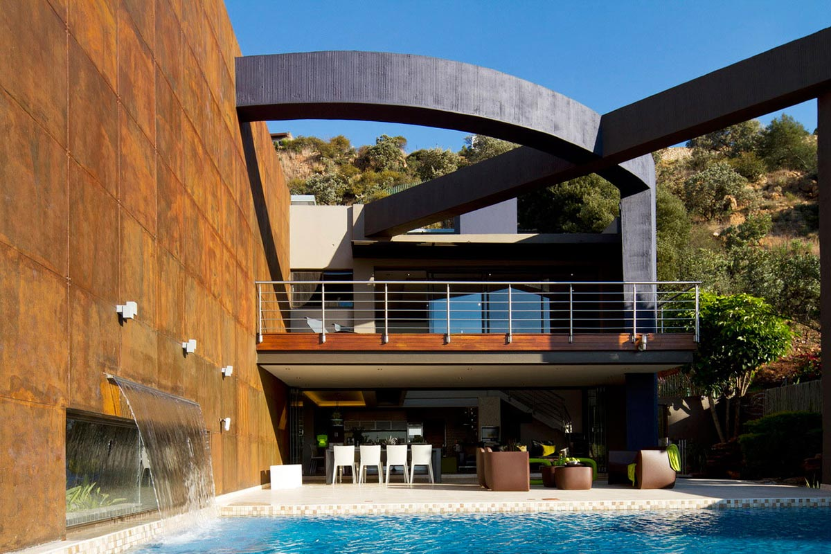 Pool waterfall modern upgrade in south africa for Pool design johannesburg