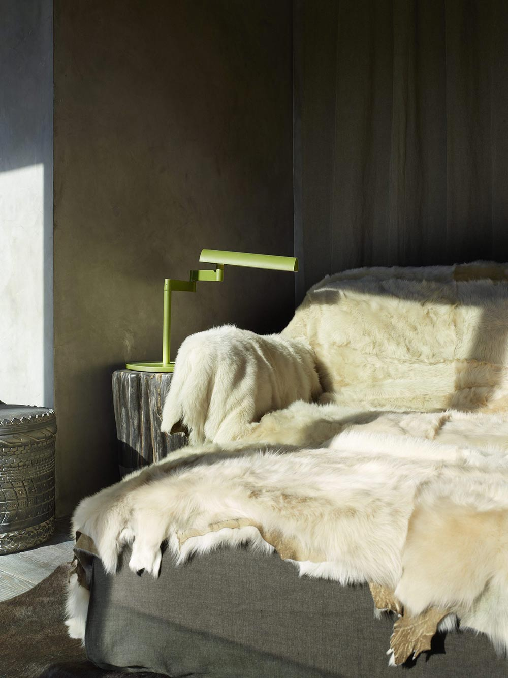 Bed, Bedside Table Light, La Muna, Aspen, Colorado by Oppenheim Architecture + Design