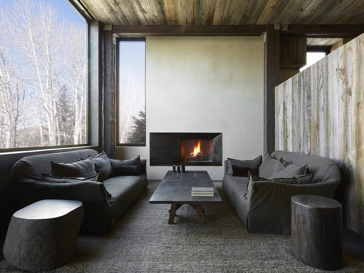 Grey Sofas, Marble Table, La Muna, Aspen, Colorado by Oppenheim Architecture + Design