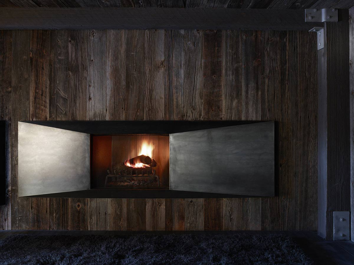 Contemporary Fireplace, Matal & Wood, La Muna, Aspen, Colorado by Oppenheim Architecture + Design
