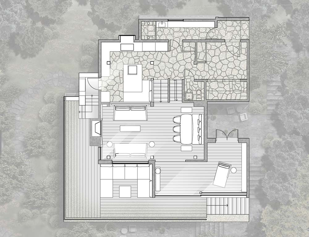 First Floor Plan, La Muna, Aspen, Colorado by Oppenheim Architecture + Design