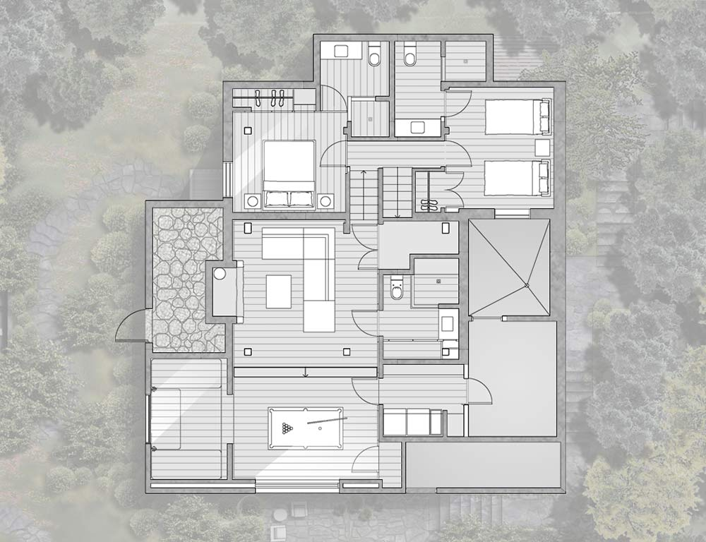 Ground Level Plan, La Muna, Aspen, Colorado by Oppenheim Architecture + Design
