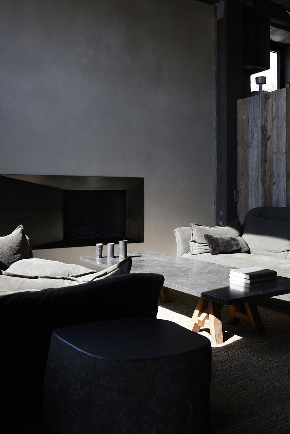 Living Space, Grey Marble Table, La Muna, Aspen, Colorado by Oppenheim Architecture + Design