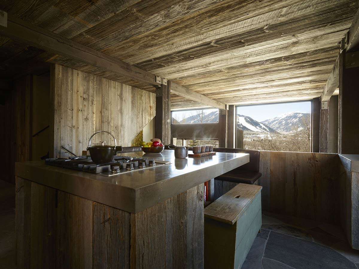 Rustic kitchen wood steel la muna aspen colorado by oppenheim architecture design Rustic home architecture
