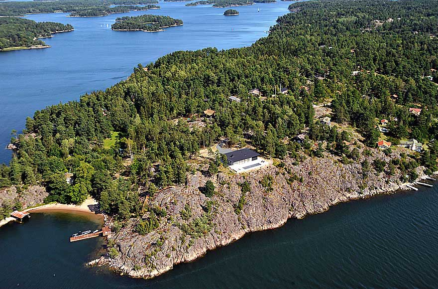 Arial View, Stunning Lake House in Sweden