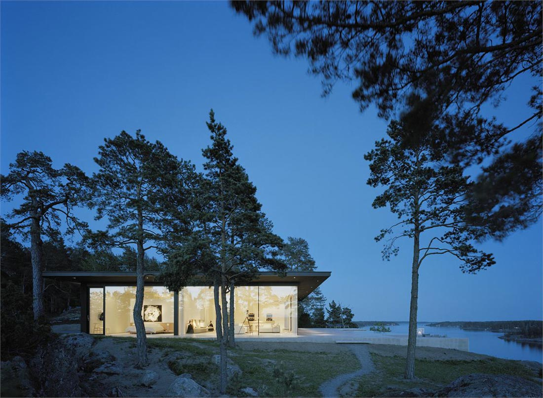Bedroom Furnature Evening Lights View Stunning Lake House In Sweden