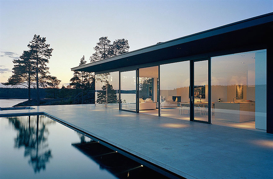 Pool, Terrace, Glass Walls, Stunning Lake House in Sweden