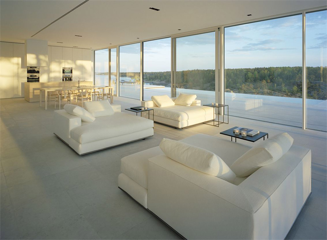 White Sofas, Dining, Kitchen, Open Plan, Stunning Lake House in Sweden