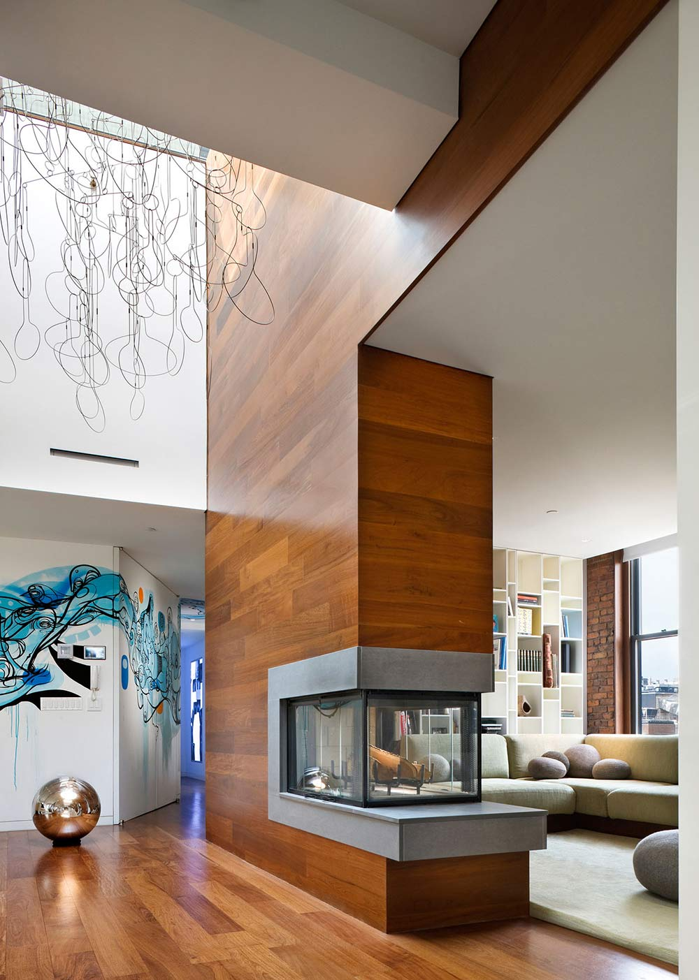 Contemporary Fireplace, Art, Contemporary Penthouse on Broadway in Manhattan