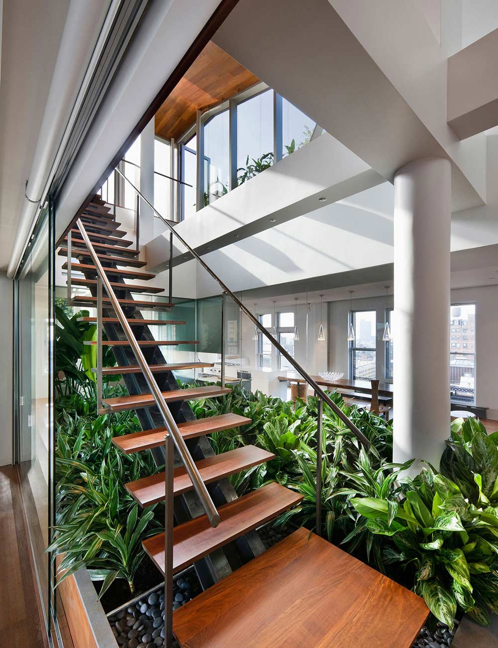 Contemporary Stairs, Contemporary Penthouse on Broadway in Manhattan
