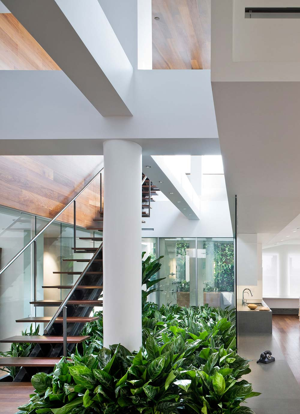 Stairs, Bathroom, Contemporary Penthouse on Broadway in Manhattan