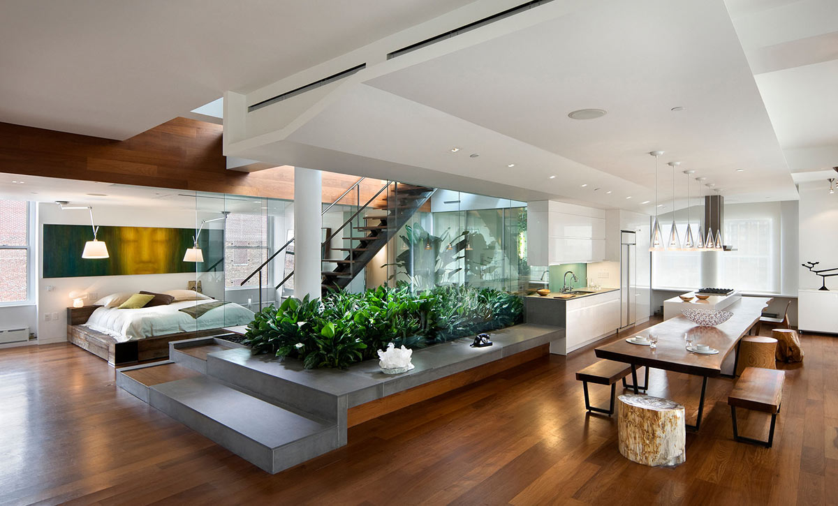 Kitchen, Dining, Stairs, Bedroom, Contemporary Penthouse on Broadway in Manhattan