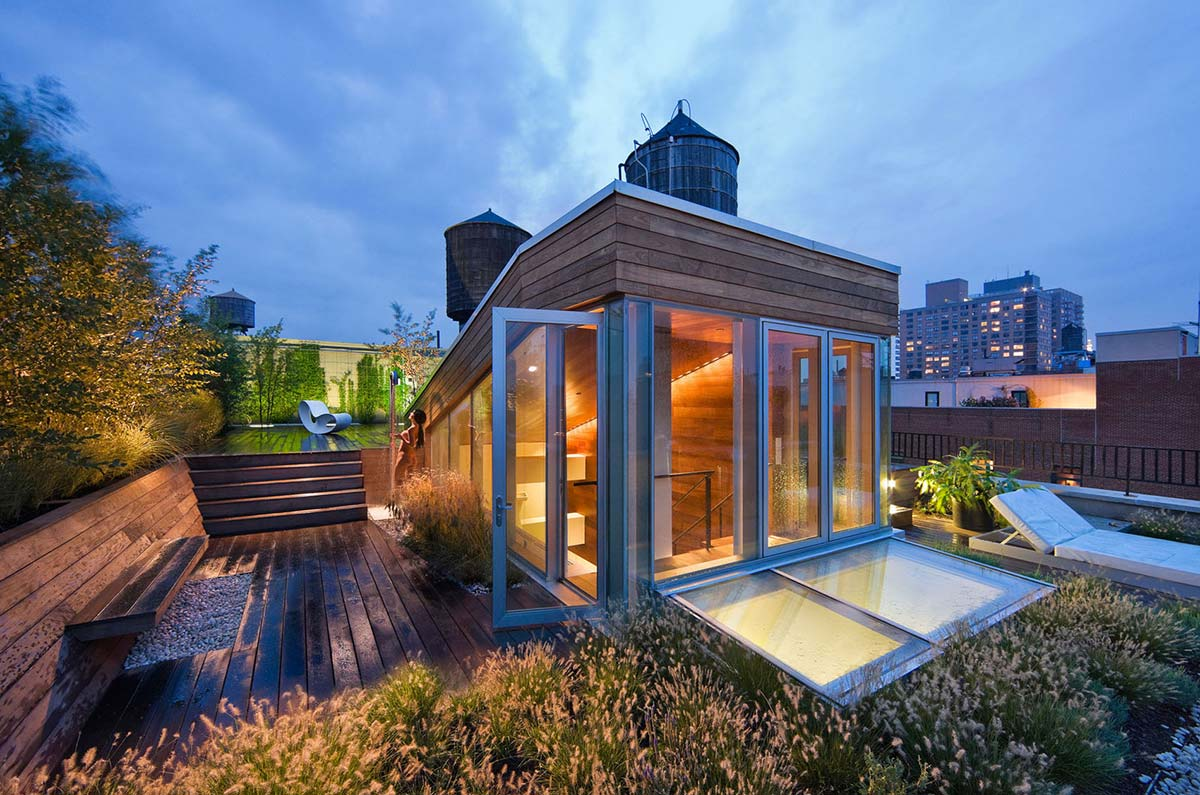 Roof Garden, Roof Shower, Contemporary Penthouse on Broadway in Manhattan