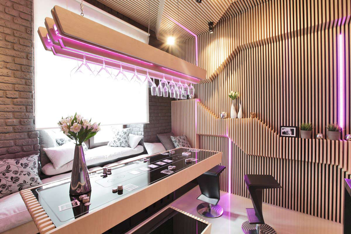 Futuristic Neon Kitchen in Moscow