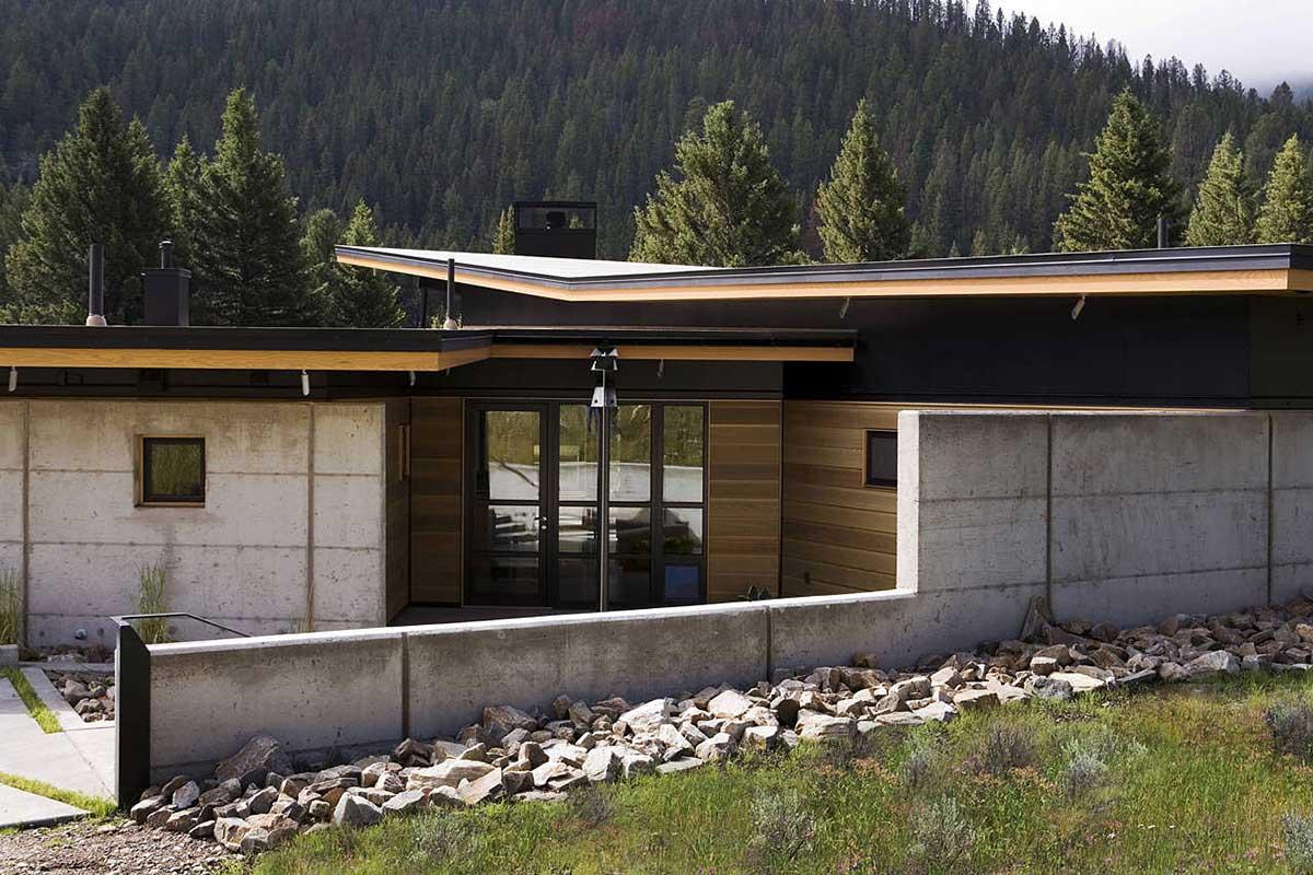 Entrance, River Bank House, Montana by Balance Associates Architects