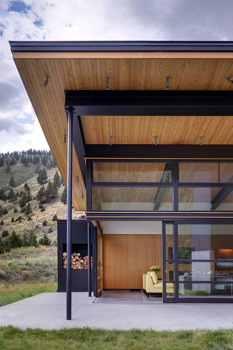 Glass Walls, Terrace, River Bank House, Montana by Balance Associates Architects