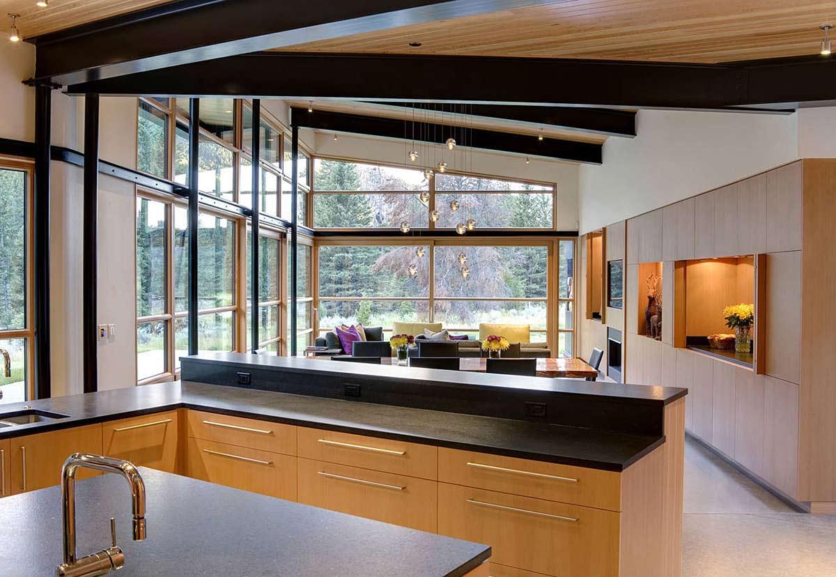Kitchen, Open Plan, River Bank House, Montana by Balance Associates Architects