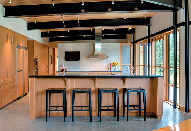 Kitchen, River Bank House, Montana by Balance Associates Architects