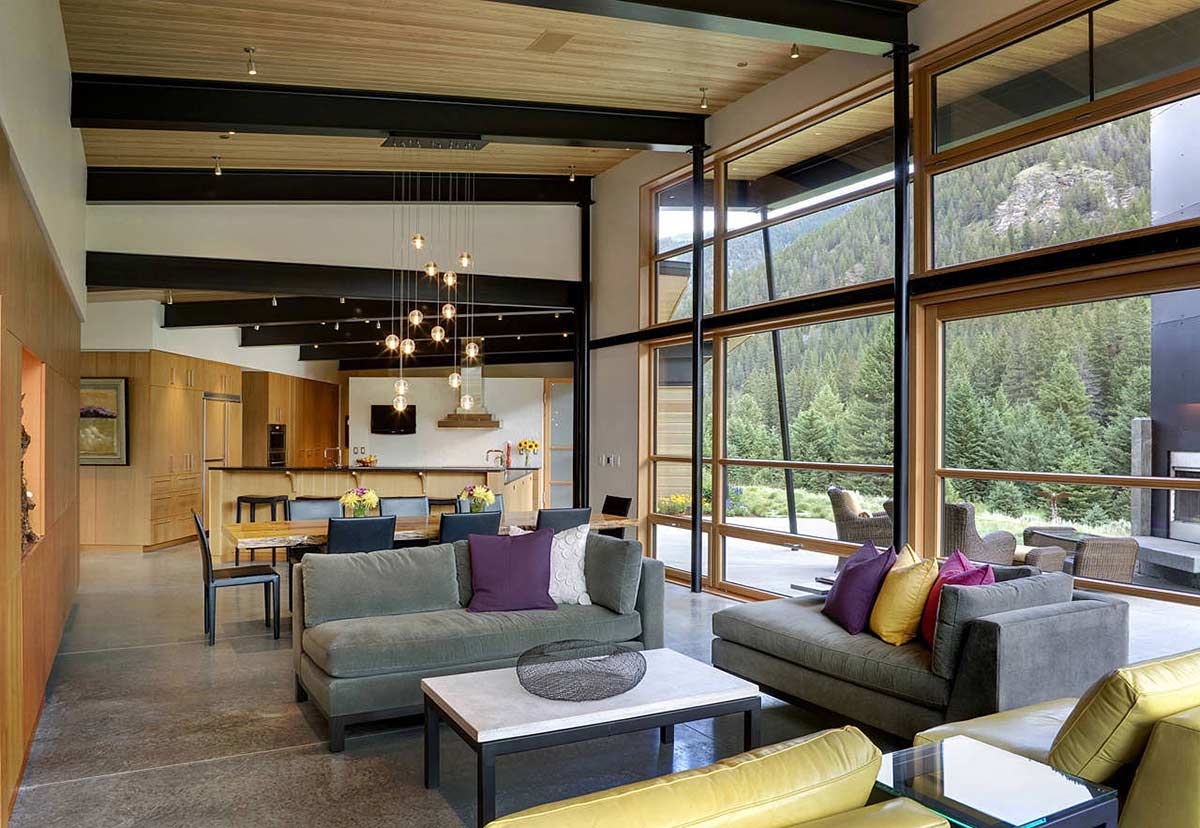 Living Space, Grey Sofas, Lighting, River Bank House, Montana by Balance Associates Architects