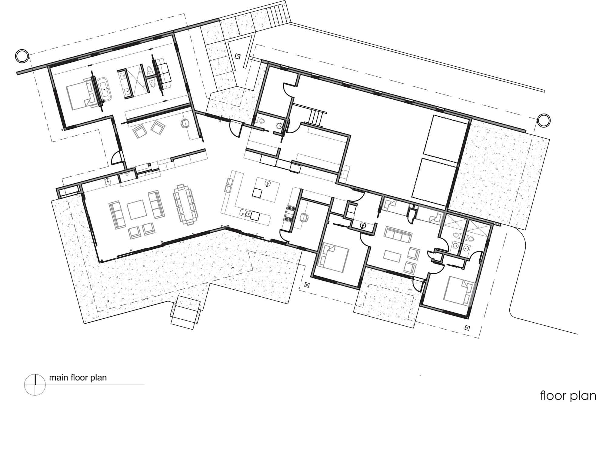 Main Floor Plan, River Bank House, Montana by Balance Associates Architects