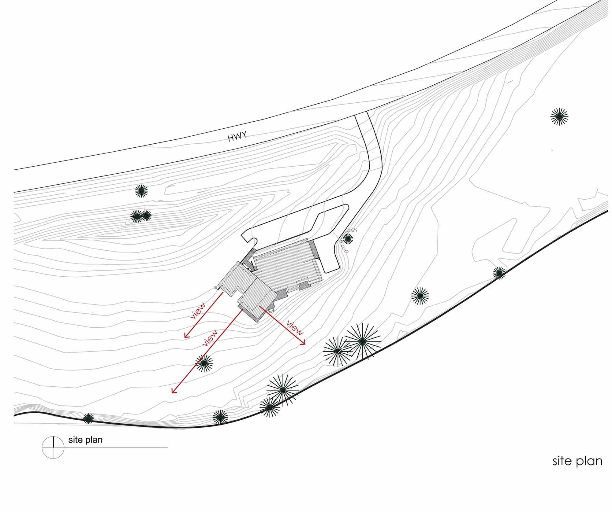 Site Plan, River Bank House, Montana by Balance Associates Architects