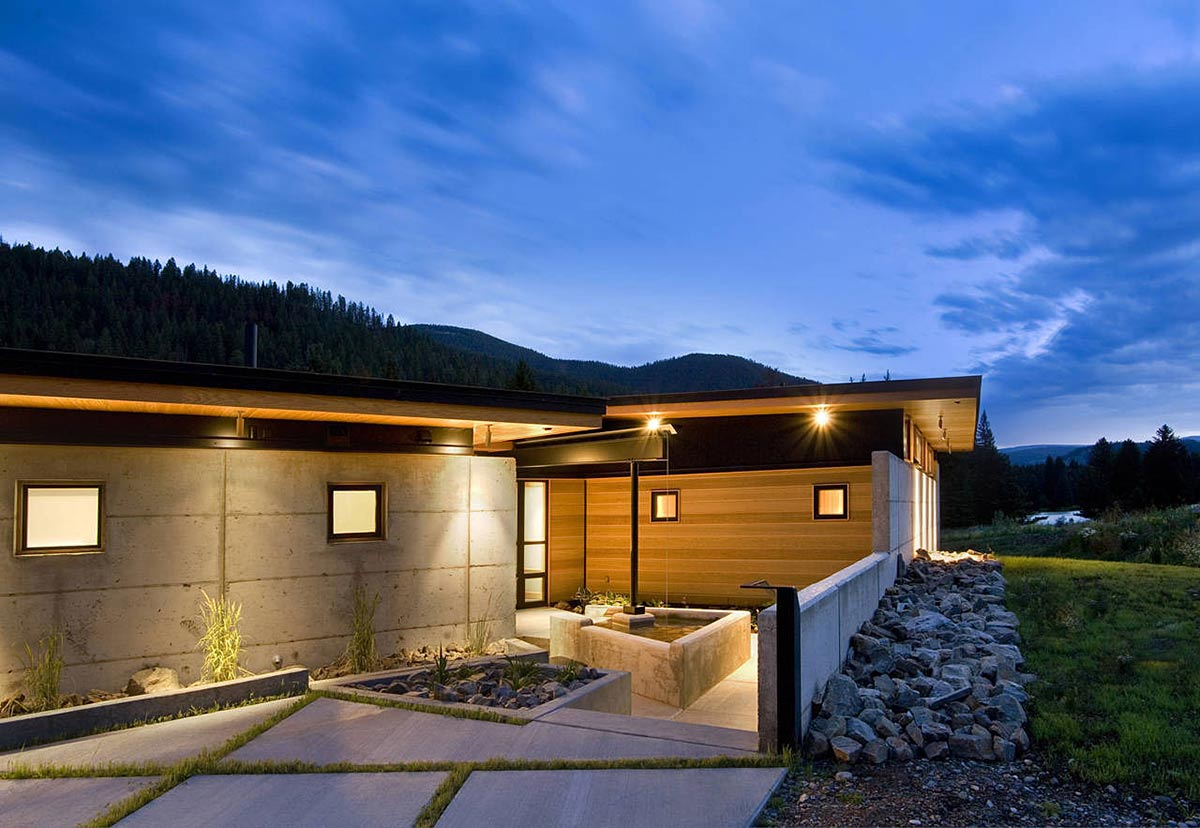 Water Feature, River Bank House, Montana by Balance Associates Architects