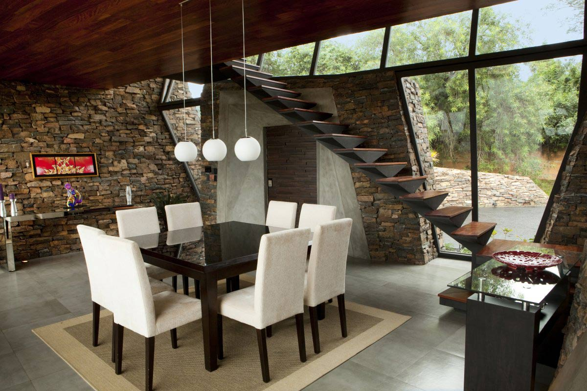 Dining Space, Stairs, Lighting, Two Homes in Luque, Paraguay, by Bauen