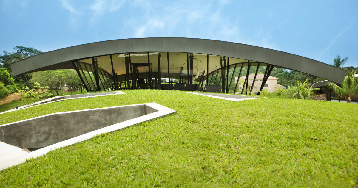 Roof, Two Homes in Luque, Paraguay, by Bauen