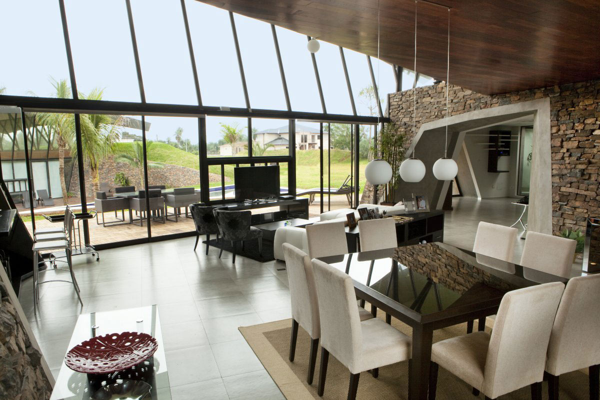 Open Plan, Glass Walls, Two Homes in Luque, Paraguay, by Bauen