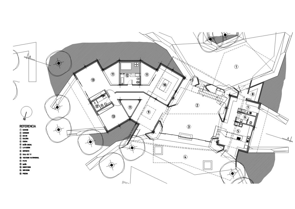 Plan, Two Homes in Luque, Paraguay, by Bauen