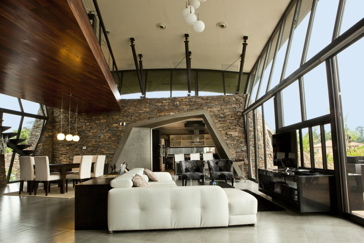 White Leather Sofas, Open Plan Living, Two Homes in Luque, Paraguay, by Bauen