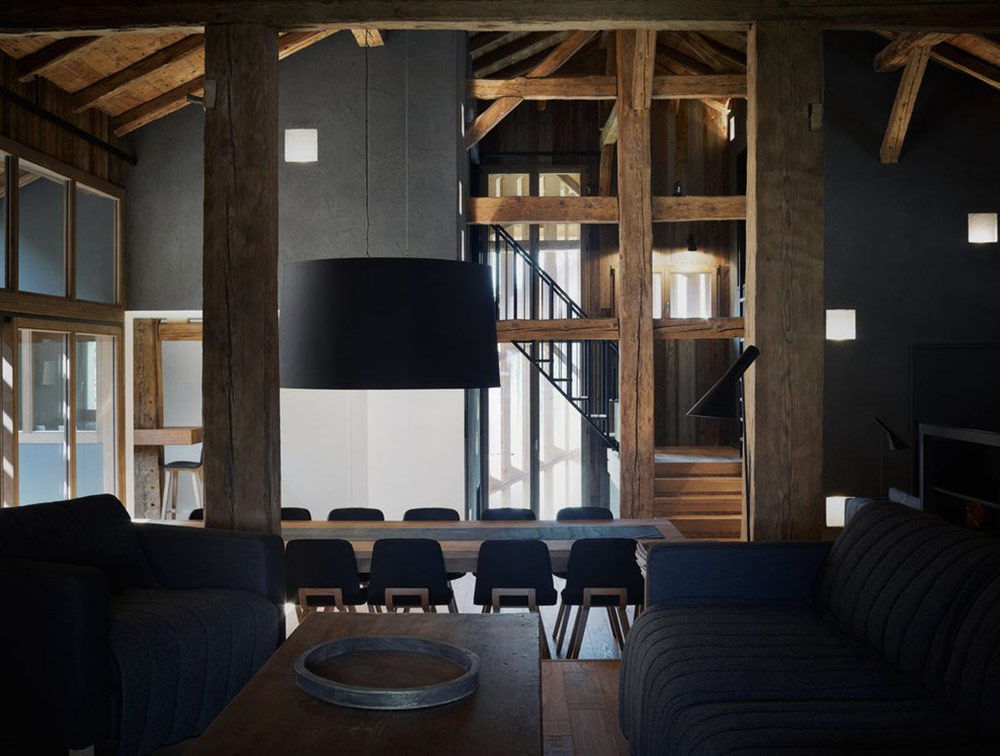 Dining Table, Lighting, Villa Solaire, Morzine, France by JKA + FUGA