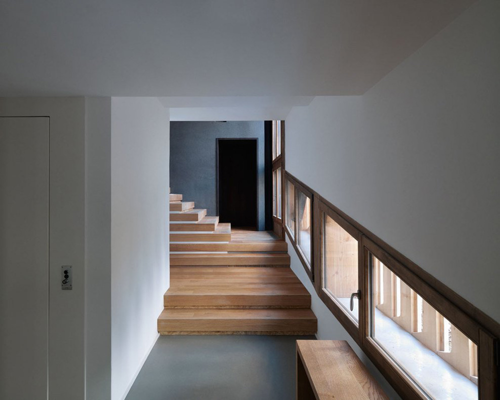 Hall, Stairs, Villa Solaire, Morzine, France by JKA + FUGA