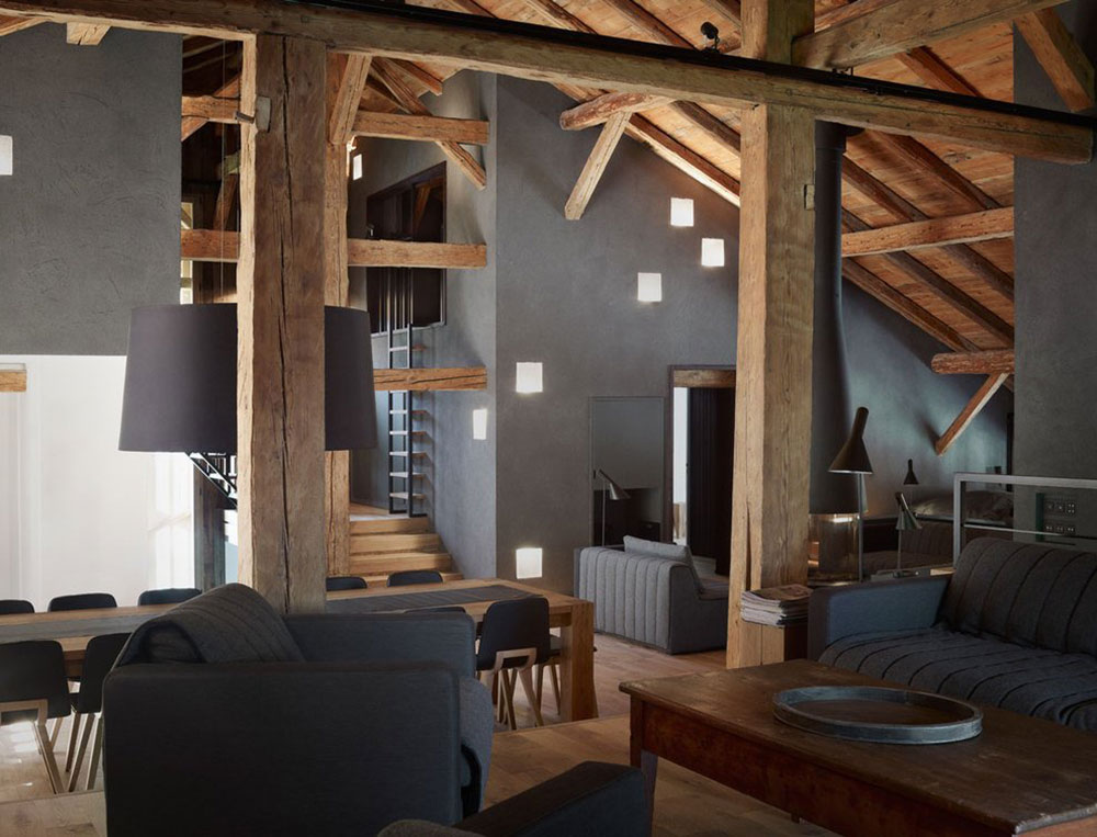 Open Plan, Wood Beams, Villa Solaire, Morzine, France by JKA + FUGA