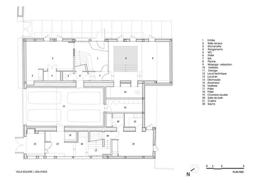 Plan, Villa Solaire, Morzine, France by JKA + FUGA