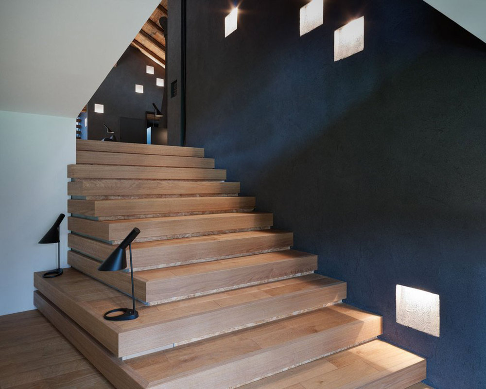 Stairs, Villa Solaire, Morzine, France by JKA + FUGA