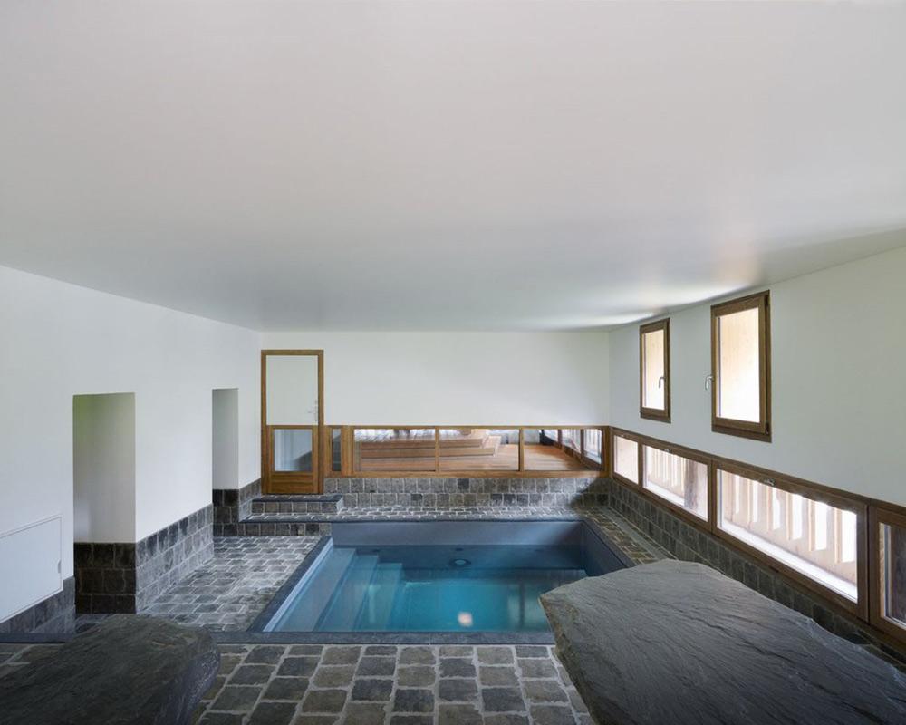Stone Tiles, Jacuzzi, Villa Solaire, Morzine, France by JKA + FUGA