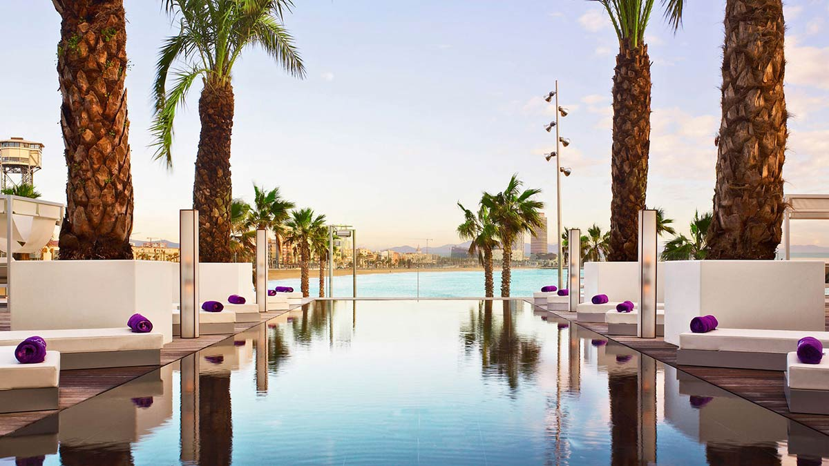 Pool, Sun Loungers, Palm Trees, W Hotel, Barcelona by Ricardo Bofill