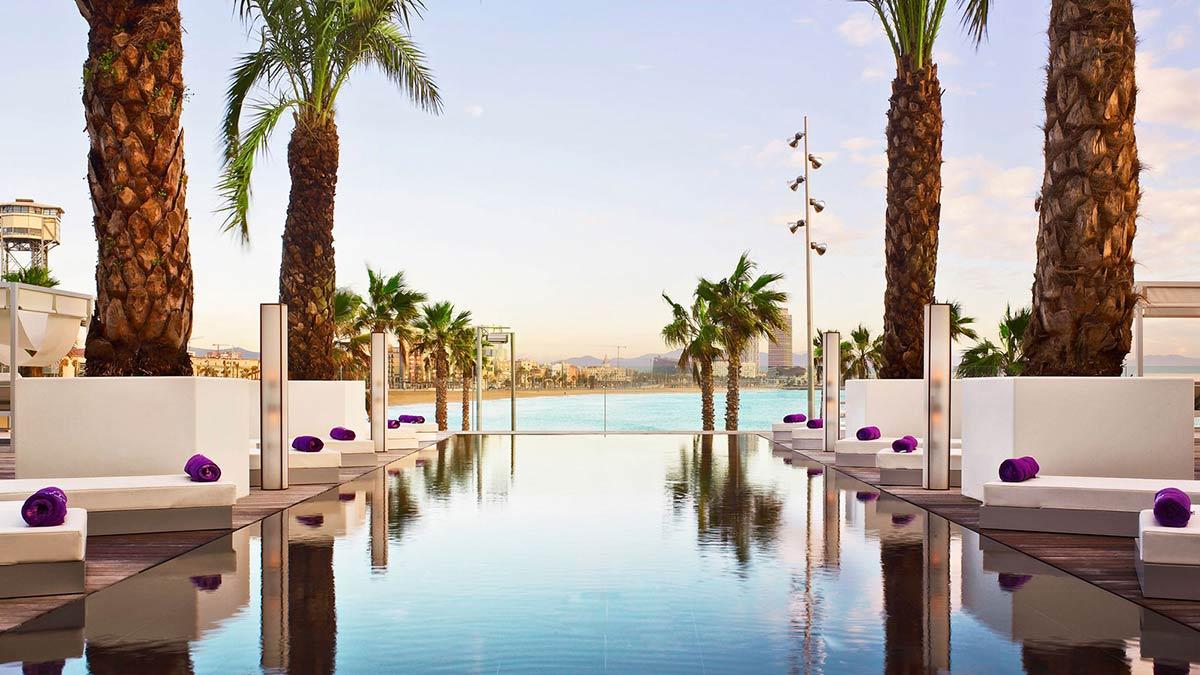Pool, Sun Loungers, Palm Trees, W Hotel, Barcelona by Ricardo Bofill