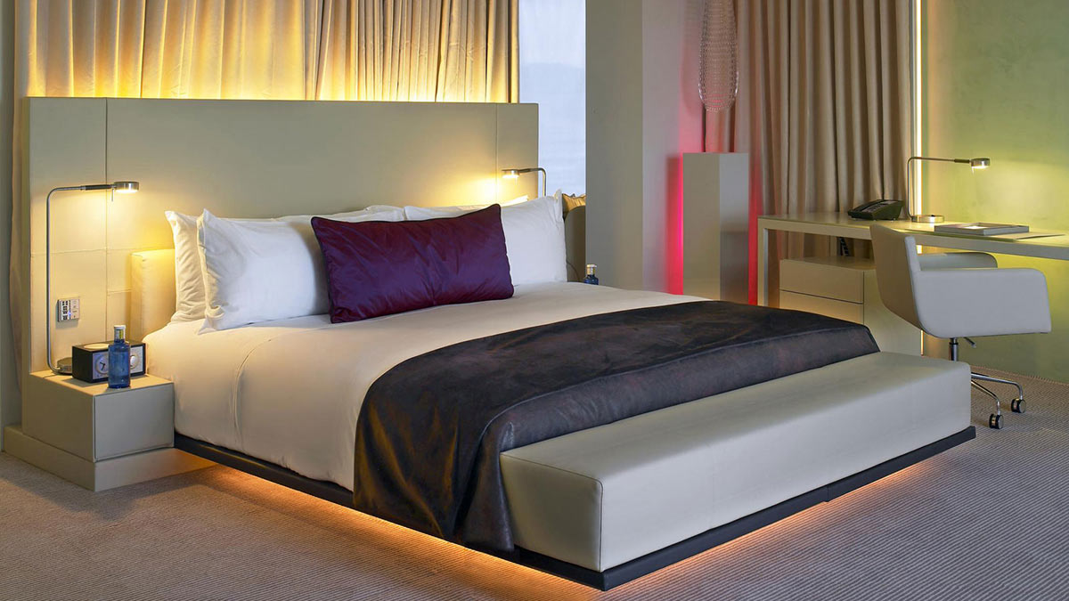 Bed, Table Lights, W Hotel, Barcelona by Ricardo Bofill
