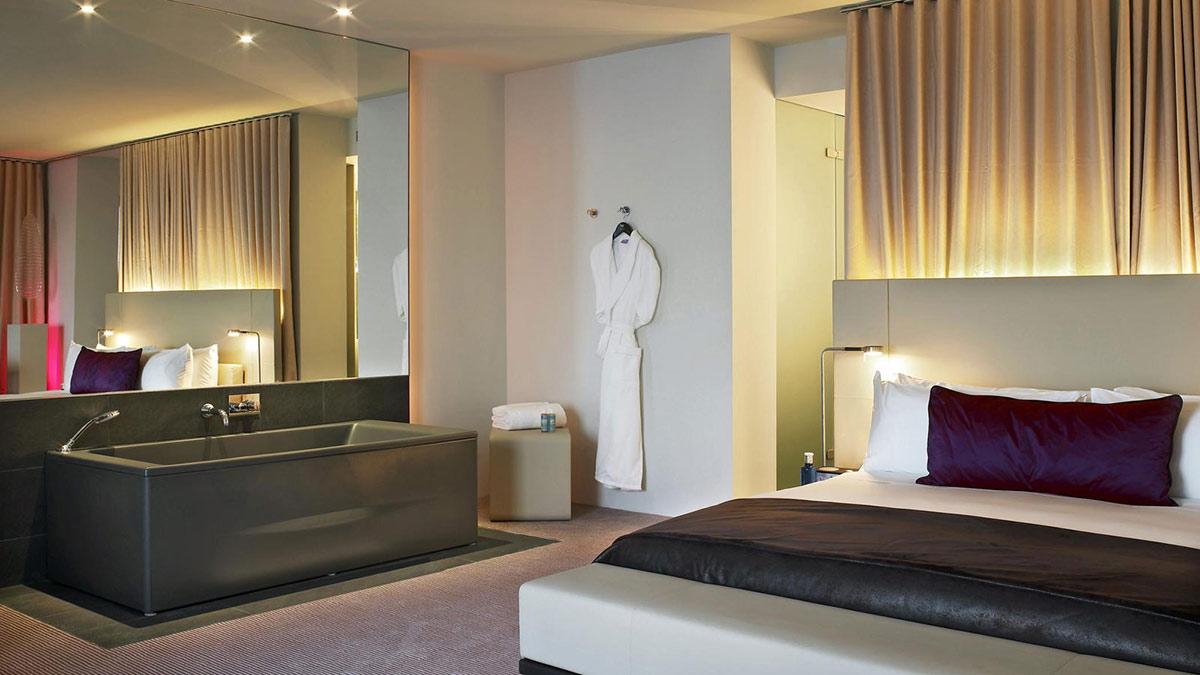 Bedroom, Bathroom, W Hotel, Barcelona by Ricardo Bofill