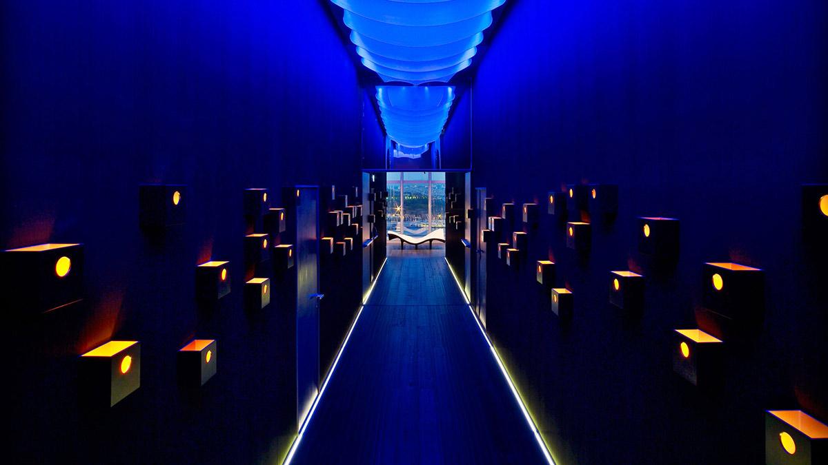 Blue Lighting, Hallway, W Hotel, Barcelona by Ricardo Bofill