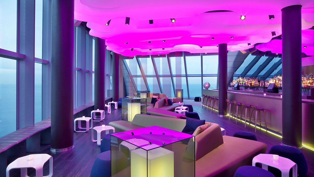 cocktail lounge, purple lighting, w hotel, barcelonaricardo bofill