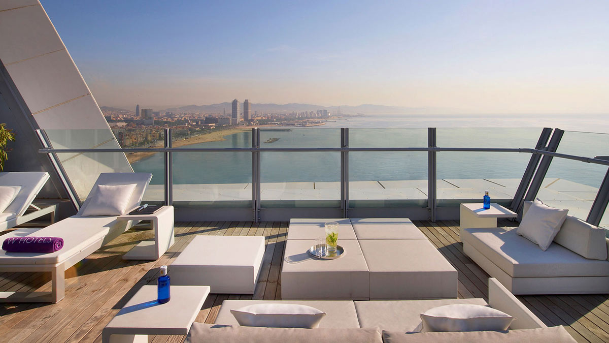 Deck, Loungers, W Hotel, Barcelona by Ricardo Bofill