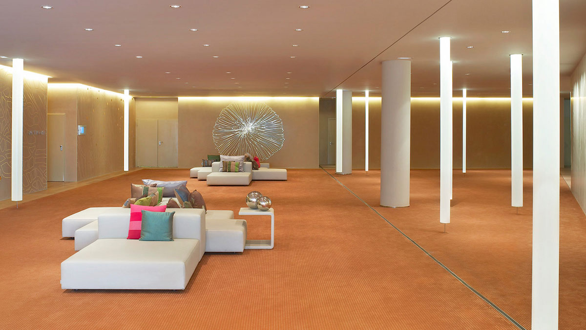 Lobby, Sofas, Floor-to-Ceiling Lighting, W Hotel, Barcelona by Ricardo Bofill