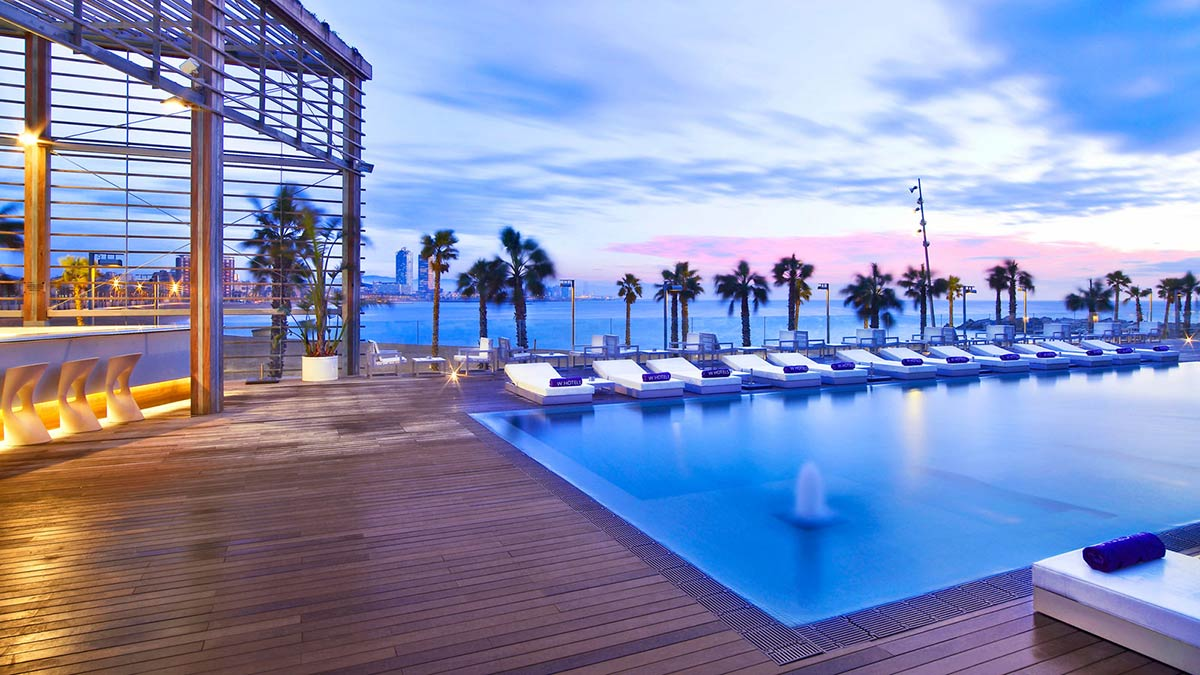 Outdoor Pool, Wood Terrace, W Hotel, Barcelona by Ricardo Bofill
