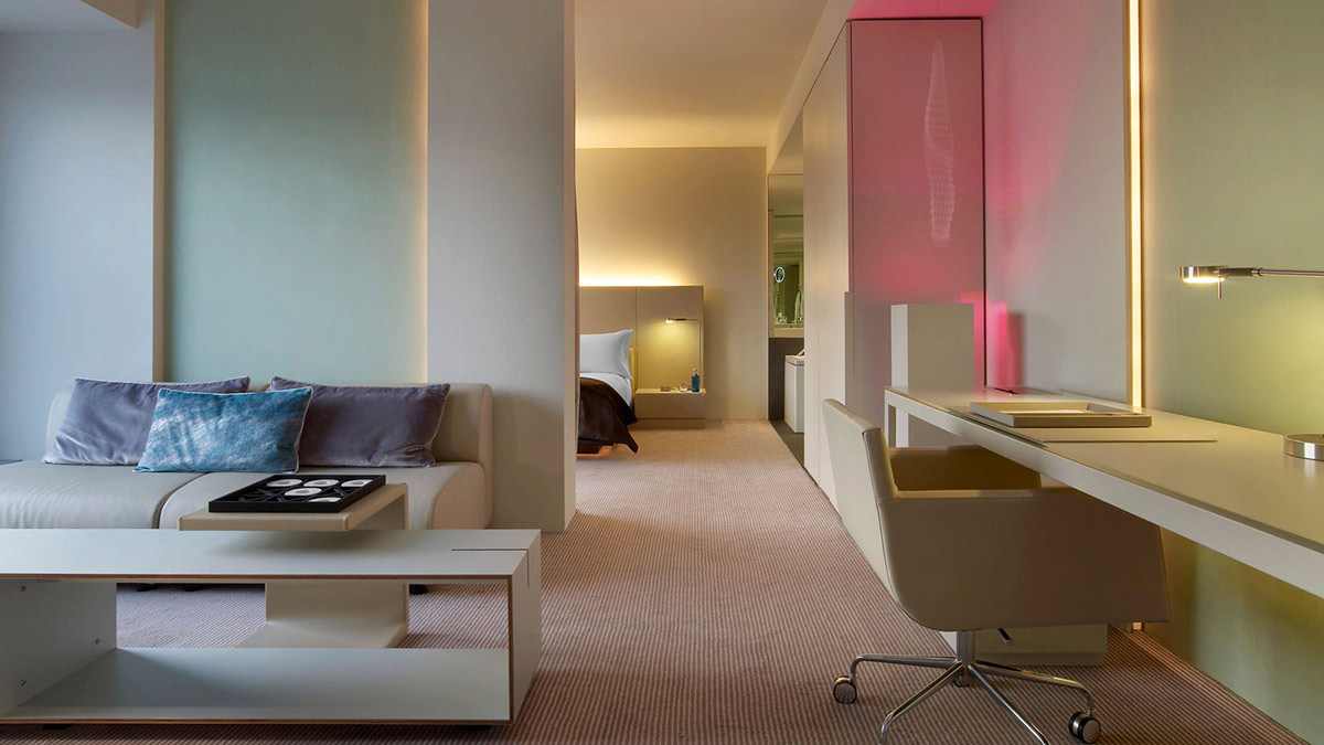 Room living space lighting w hotel barcelona by for W hotel bedroom designs
