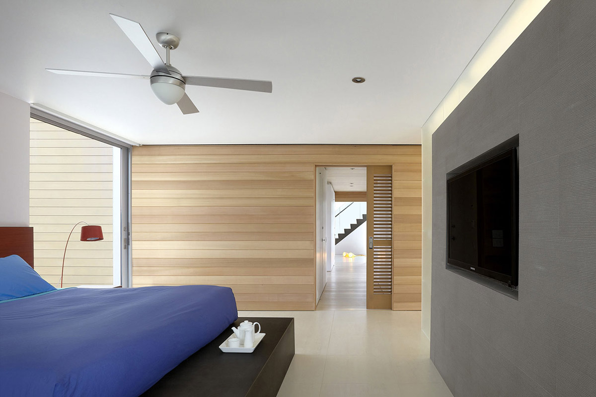 Bedroom Wooden Walls Beach Walk House Fire Island New York