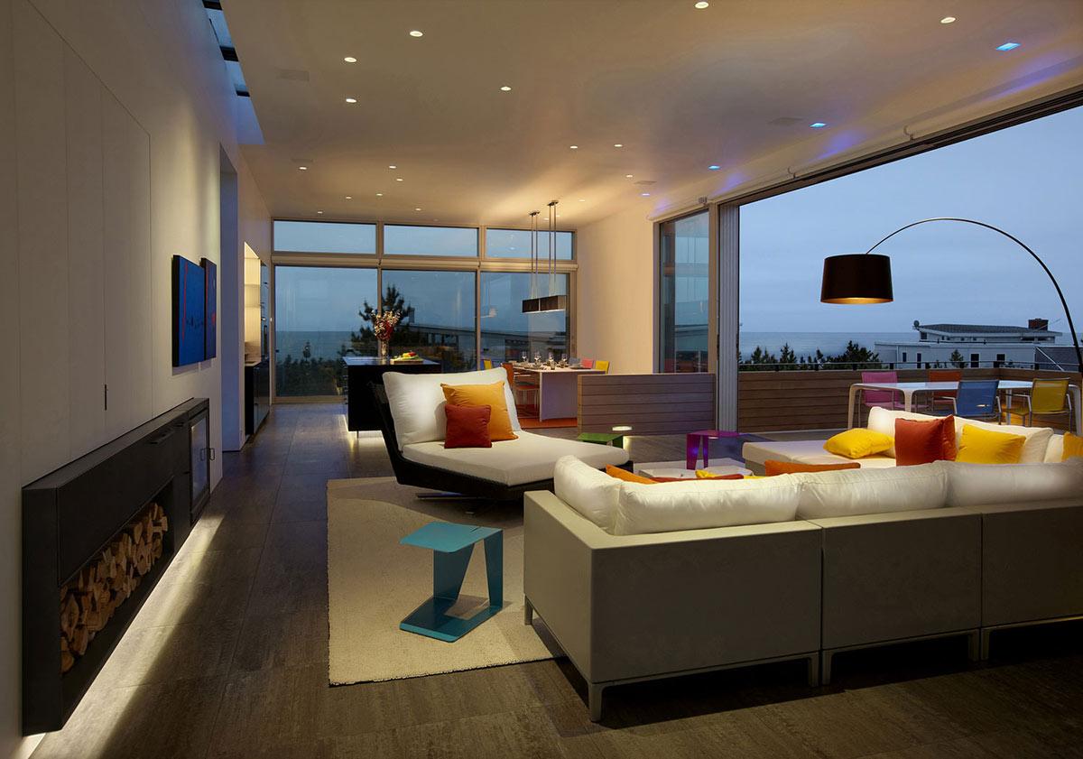 Contemporary Fireplace, Beach Walk House, Fire Island, New York